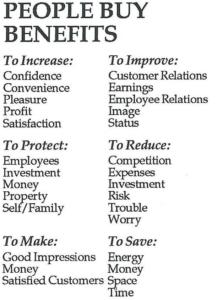 People Buy Benefits